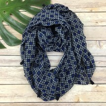 Old Navy Geometric Print Tassel Trim Infinity Scarf Navy Blue Black Soft - $12.66