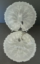 Frosted Pebble Leaf Tree of Life Salad Luncheon Plates Indiana Glass Cry... - $14.80