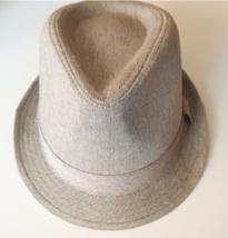 Nuevo Hombre Negro Chambray Gris Algodón Sombrero Fedora Con Manchas M/L Nwt image 3