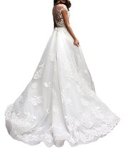 Cheap White Lace Wedding Dress Short Sleeves,Wedding Gown,Bridal Dress 2017 - $199.00