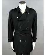 BURBERRY LONDON Navy Cotton Double Breasted Belted Trench Coat Size 50 E... - $881.09