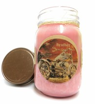 Leather 16oz Country Jar Handmade Soy All Natural Soy Candle Approximate... - $17.70