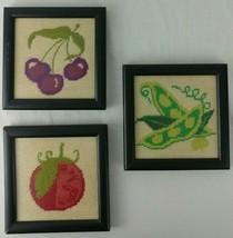 Needlepoint Samplers Framed Lot of 3 Black Kitchen Garden Tomato Peas Ch... - $19.95