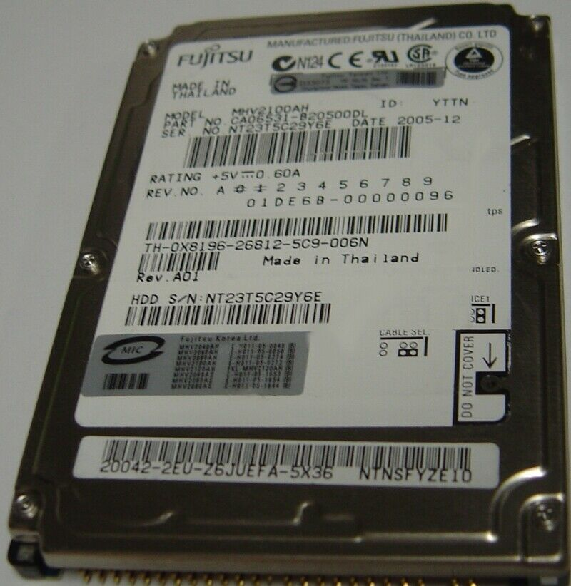 "NEW MHV2100AH Fujitsu 100GB 2.5"" 9.5MM IDE 44PIN Hard Drive Free US Ship"