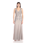 Adrianna Papell Women's V Neck Long Beaded Gown - $129.99