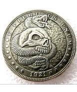 Rare New Hobo Nickel 1921 Morgan Dollar Skull Snake Demon Skeleton Caste... - $11.99