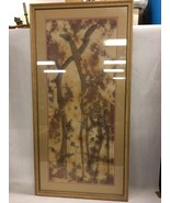 Signed Large Batik Art Framed Wall Hanging of Giraffe and Tree - $183.14