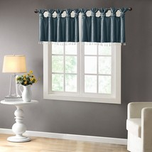 Luxury Teal Faux Silk DIY Twisted Tab Top Window Valance w/Hanging Beads - $35.14