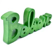 Vaneal Group Hand Carved Soapstone Green Believe Standing Word Paperweight image 5