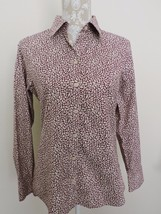 Eddie Bauer Blouse Top Shirt Wrinkle Resistant No Iron Leaf Pattern Fall Medium - $23.83