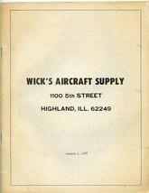 Wicks Aircraft Supply Catalog Highland Illinois 1977 Varieze Rand KR-2 O... - $27.79