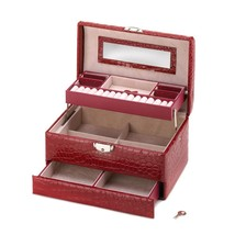 Jewelry Boxes For Teens, Personalized Jewelry Box Leather Deluxe Red Jew... - €38,60 EUR