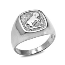 Sterling Silver Aries Mens Zodiac Sign Ring - £35.86 GBP