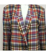 Talbots Blazer Womens Large Multi Color Lined 1 Button Long Sleeve Plaid... - $18.00