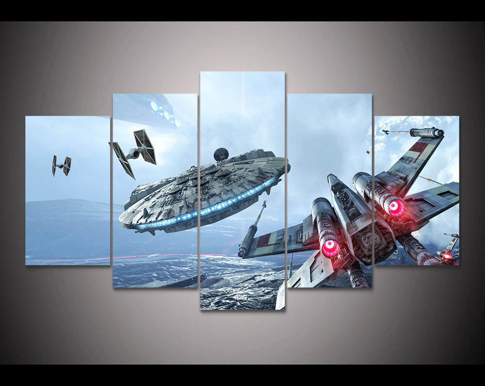 Large Framed Star Wars Millennium Falcon Tie X-wing Canvas Wall Home Decor 5pc for sale  USA