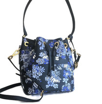 Michael Kors Medium Bucket Grab Bag Greenwich Tote ~ Blue Floral Drawstr... - $128.95