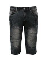 LR Scoop Men's Distressed Denim Fade Wash Slim Fit Moto Skinny Jean Shorts image 2