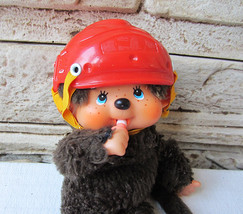 Rare Vintage Sekiguchi Monchhichi with Helmet 1974 Retro Doll Monkey Dol... - $36.90