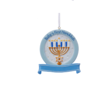 "KURT ADLER 3"" RESIN ""BABY'S 1ST HANUKKAH"" DISC BABY BOY HOLIDAY ORNAMENT - $8.88"