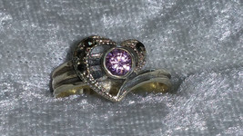 Vintage 9.25 Pink Ice Marcasite Sterling silver ring heart  6.5  - $39.00