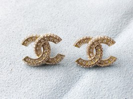 SALE* AUTHENTIC CHANEL XL LARGE CRYSTAL CC LOGO STUD GOLD EARRINGS  image 2