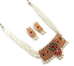 Indian Ethnic Bollywood Gold Plated Rhinestone Pearl Bridal Jewelry Necklace Set - $18.99