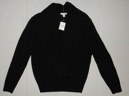 J Jill Black Pullover Mock Cardigan Sweater NWT S P Cotton Blend Long Sl... - $19.79