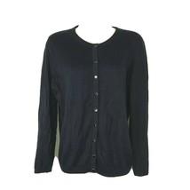 Talbots Button Up Cardigan Sweater Women Petite Size MP Navy Blue Long S... - $14.84