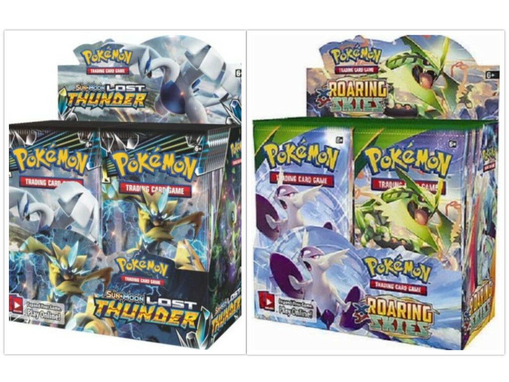 Pokemon TCG Sun & Moon Lost Thunder + Roaring Skies Booster Box Bundle