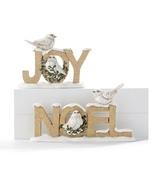 Word Block shelf Decor Christmas Joy, Noel with White Birds  - $23.99