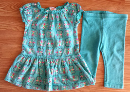 Girl's Size 12 M Months 2 Pc Circo Blue Butterfly Dress & Blue Metallic Leggings - $14.00