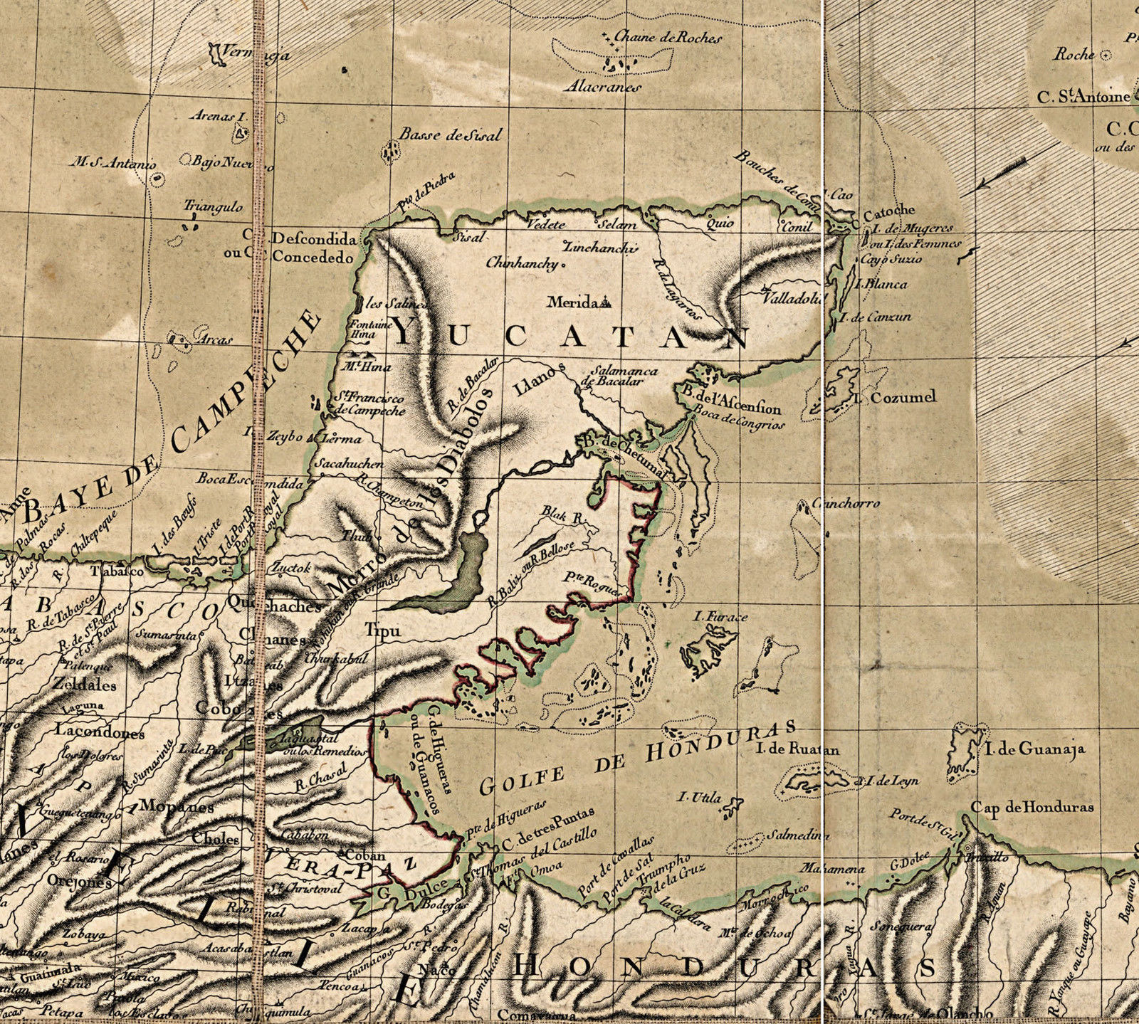 1780 Map West Indies Caribbean New Spain Wall Art Poster Home School Office