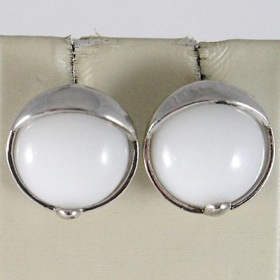 925 STERLING SILVER PENDANT EARRINGS WITH BIG ROUND CABOCHON WHITE AGATE