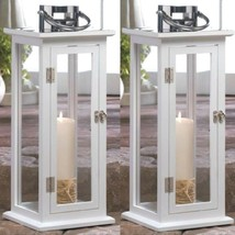 """2 Large Wood Lantern 20.4"""" Tall White Silver Candle Holder Wedding Centerpieces - $79.05"""