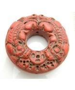 Asian Red Cinnabar Dragon Medallion Necklace Pendant Vintage - $44.54