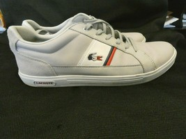 Mens Lacoste 1933 Lace Up Light Gray Sneaker Shoes SZ 11 VGC Quick Shipping - $29.69