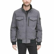 DKNY Men's Quilted Bomber Jacket, size L, Heather Gray - $42.06