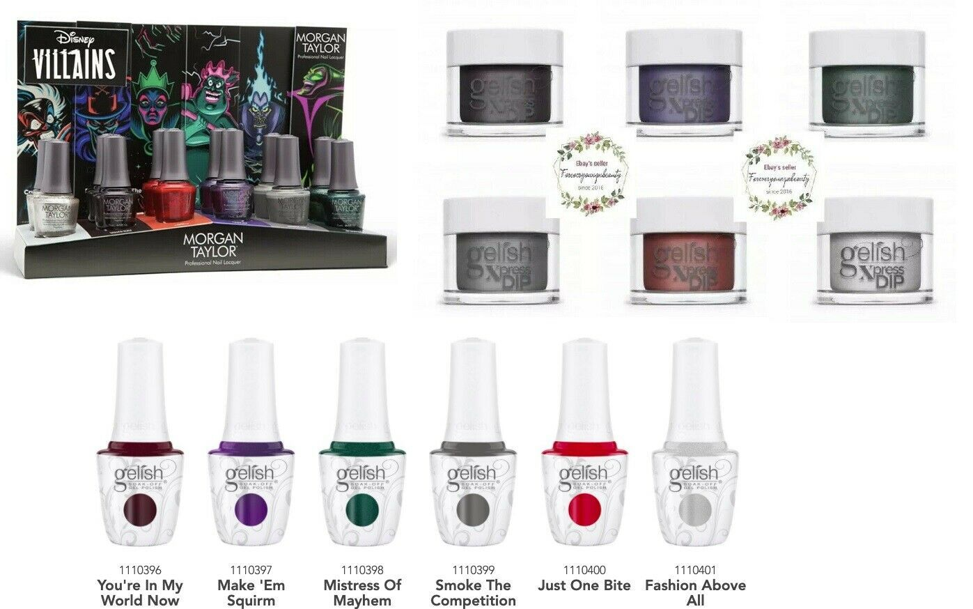 Primary image for Harmony Gelish Xpress DIP - DISNEY VILLAINS Fall '20 TRIO x 6 COLORS
