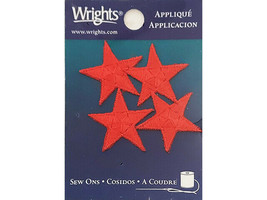 Wrights Sew On Red Star Appliques, 4 Count #193-2350-001
