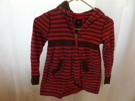 girls Gap kids Size Small 6/7 full zip jacket purple brown stripe - $3.75