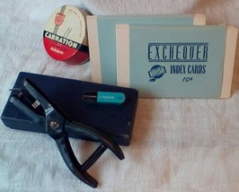 Vintage Office Collection. Hole Punch, Index Cards Typewriter Ribbon Tin. G-186 image 1