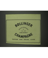 1949 Bollinger Champagne Ad - previous appointment to the late King - $14.99