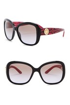 NEW AUTHENTIC VERSACE Rock Icons 57mm Square Sunglasses Black Cherry Gol... - $176.42