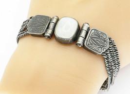KOUKOS 925 Silver - Vintage Cabochon Cut Moonstone Chain Bracelet - B5938 - $117.20