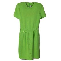 Vintage St. John Dress 1980s Santana Knit SS Lime Green Dress 6 Shoulder... - $118.78