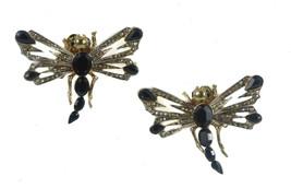 Roberto Cavalli Women's Gold Swarovski Crystal Black Dragonfly Earrings ... - $94.05