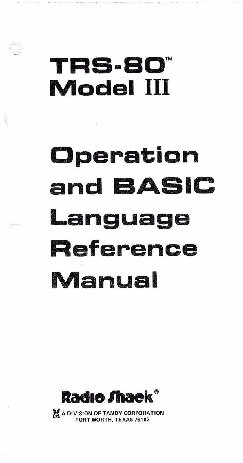 TRS-80 Model III Operation and BASIC Language Reference Manual * PDF * CDROM - $8.99