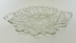Handled Cake Sandwich Plate Dish Crystal Wild Rose Pattern #7 Indiana Gl... - $16.71