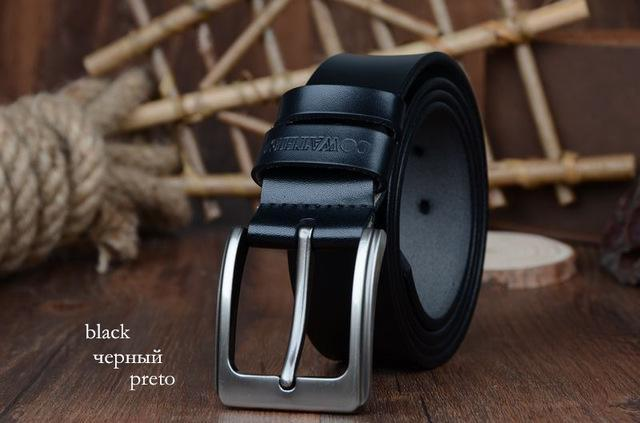 COWATHER cowhide genuine leather belts for men brand Strap male pin buckle vinta image 6