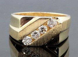 Vintage Mens Deco Heavy 14K Channel .65CT Diamond Ring Square F SI Trugl... - $914.76